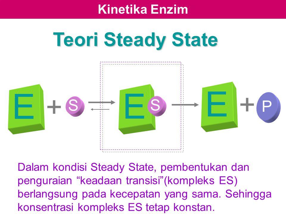 """Kinetika Enzim E S + P + Teori Steady State Dalam kondisi Steady State, pembentukan dan penguraian """"keadaan transisi""""(kompleks ES) berlangsung pada ke"""
