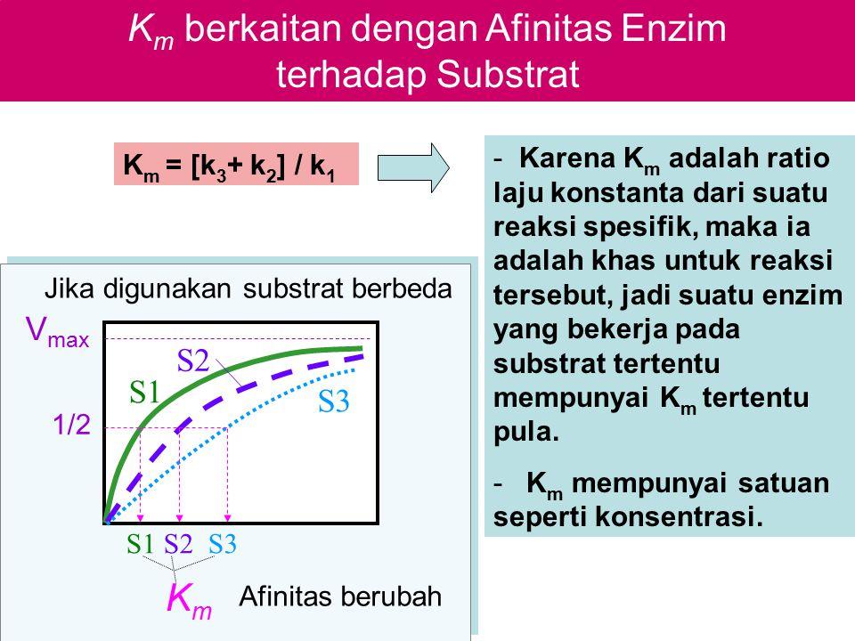 K m berkaitan dengan Afinitas Enzim terhadap Substrat S2 S1 S3 S1 S2 S3 V max 1/2 Jika digunakan substrat berbeda Afinitas berubah KmKm - Karena K m a