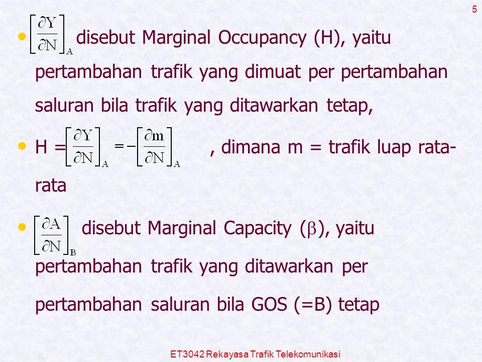 ET3042 Rekayasa Trafik Telekomunikasi 5 disebut Marginal Occupancy (H), yaitu pertambahan trafik yang dimuat per pertambahan saluran bila trafik yang