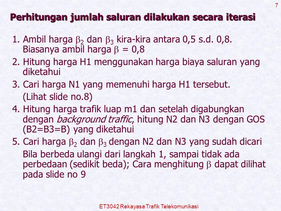 ET3042 Rekayasa Trafik Telekomunikasi 7 Perhitungan jumlah saluran dilakukan secara iterasi 1. Ambil harga  2 dan  3 kira-kira antara 0,5 s.d. 0,8.