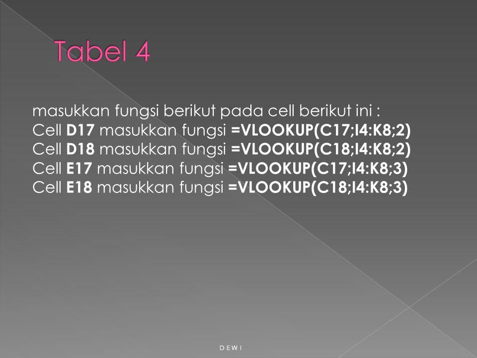 masukkan fungsi berikut pada cell berikut ini : Cell D17 masukkan fungsi =VLOOKUP(C17;I4:K8;2) Cell D18 masukkan fungsi =VLOOKUP(C18;I4:K8;2) Cell E17