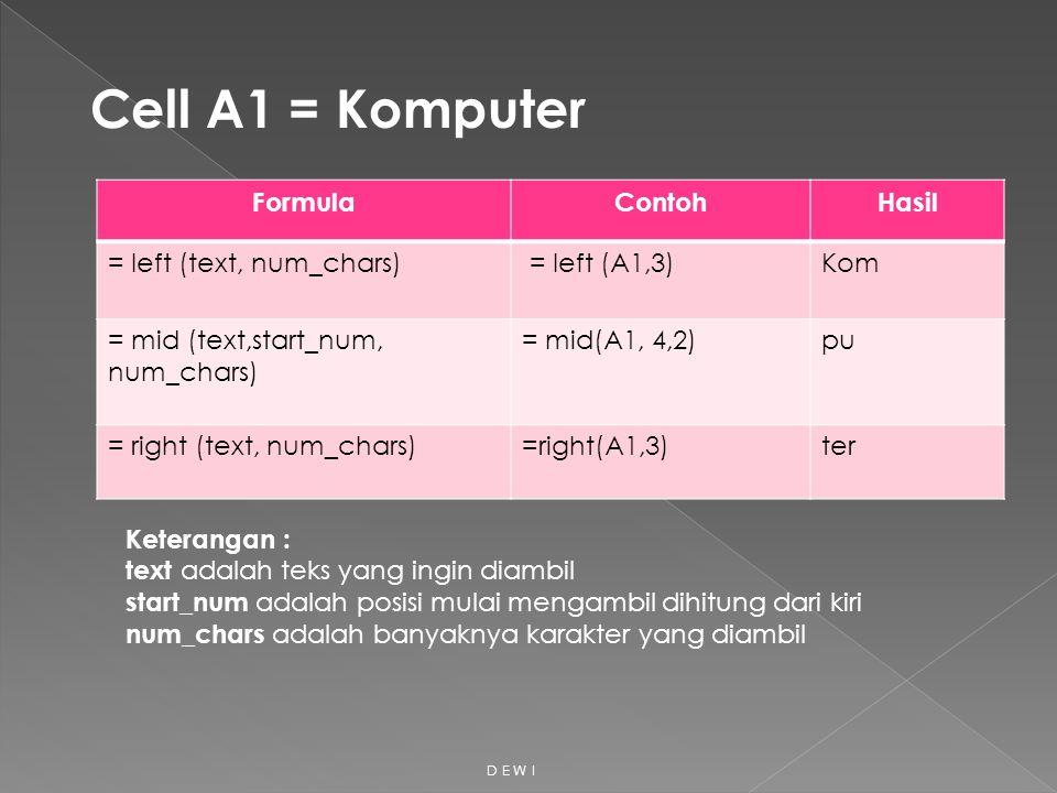 FormulaContohHasil = left (text, num_chars) = left (A1,3)Kom = mid (text,start_num, num_chars) = mid(A1, 4,2)pu = right (text, num_chars)=right(A1,3)t