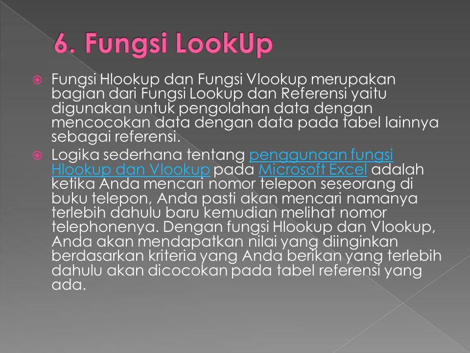 Fungsi Hlookup dan Fungsi Vlookup merupakan bagian dari Fungsi Lookup dan Referensi yaitu digunakan untuk pengolahan data dengan mencocokan data den