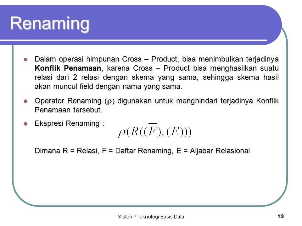 Sistem / Teknologi Basis Data 13 Renaming Dalam operasi himpunan Cross – Product, bisa menimbulkan terjadinya Konflik Penamaan, karena Cross – Product