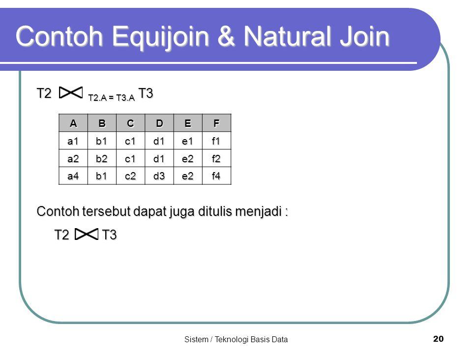 Sistem / Teknologi Basis Data 20 Contoh Equijoin & Natural Join T2 T2.A = T3.A T3 Contoh tersebut dapat juga ditulis menjadi : T2 T3 ABCDEFa1b1c1d1e1f