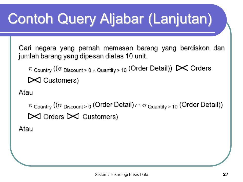 Sistem / Teknologi Basis Data 27 Contoh Query Aljabar (Lanjutan) Cari negara yang pernah memesan barang yang berdiskon dan jumlah barang yang dipesan