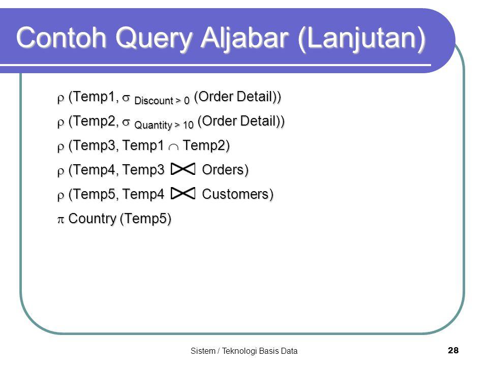 Sistem / Teknologi Basis Data 28 Contoh Query Aljabar (Lanjutan)  (Temp1,  Discount > 0 (Order Detail))  (Temp2,  Quantity > 10 (Order Detail)) 