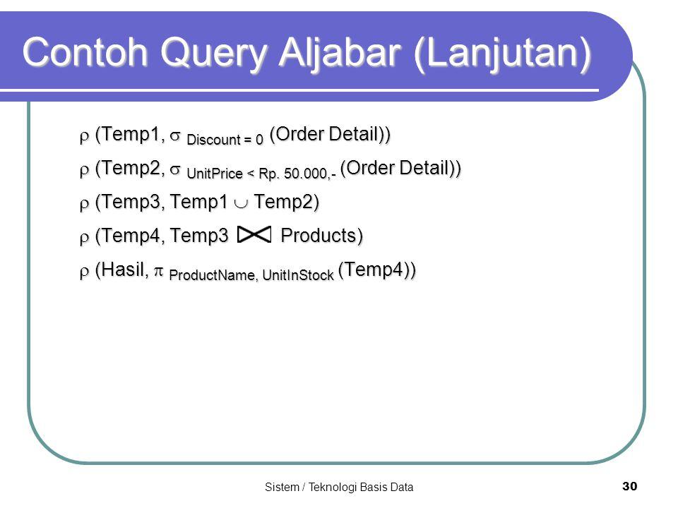 Sistem / Teknologi Basis Data 30 Contoh Query Aljabar (Lanjutan)  (Temp1,  Discount = 0 (Order Detail))  (Temp2,  UnitPrice < Rp. 50.000,- (Order