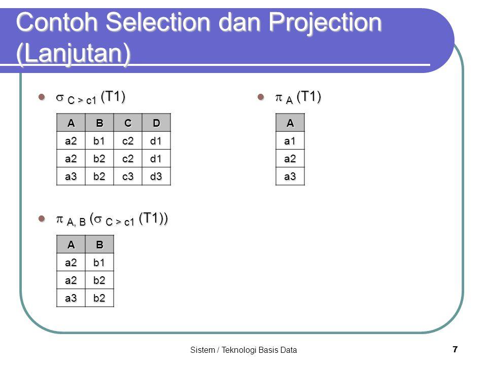 Sistem / Teknologi Basis Data 7 Contoh Selection dan Projection (Lanjutan)  C > c1 (T1)  C > c1 (T1)  A, B (  C > c1 (T1))  A, B (  C > c1 (T1))