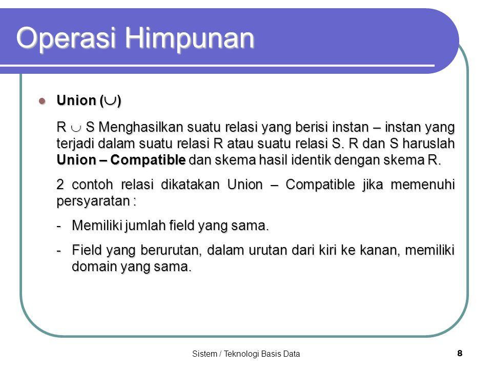 Sistem / Teknologi Basis Data 8 Operasi Himpunan Union (  ) Union (  ) R  S Menghasilkan suatu relasi yang berisi instan – instan yang terjadi dala