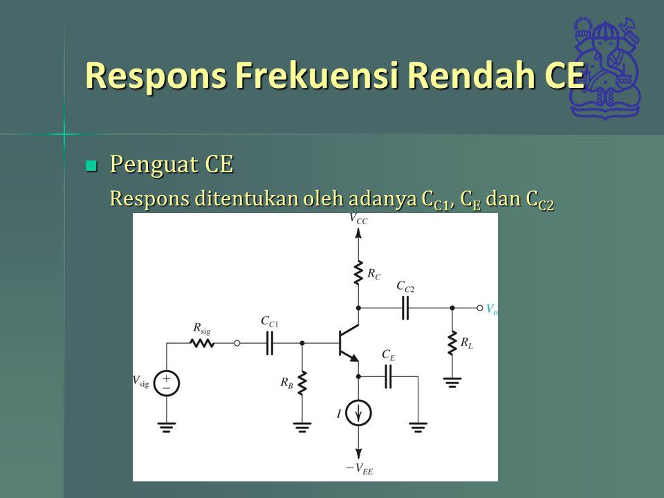 Respons Frekuensi Rendah CE Penguat CE Penguat CE Respons ditentukan oleh adanya C C1, C E dan C C2