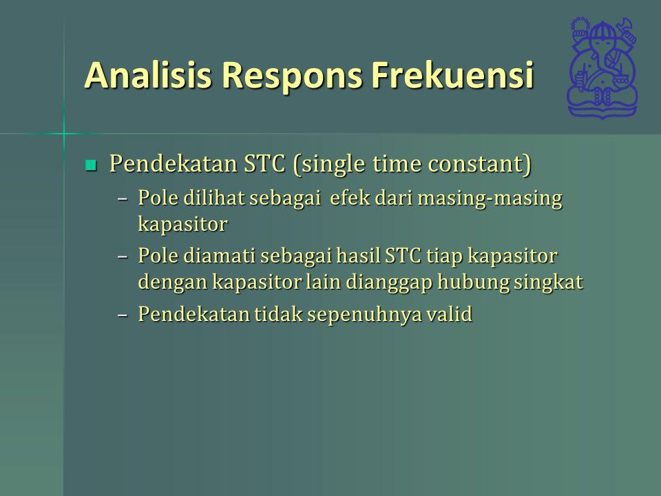 Analisis Respons Frekuensi Pendekatan STC (single time constant) Pendekatan STC (single time constant) –Pole dilihat sebagai efek dari masing-masing k