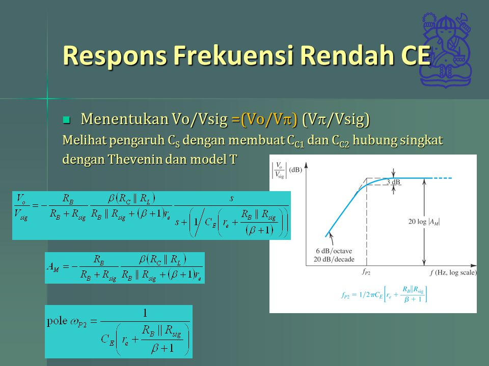 Respons Frekuensi Rendah CE Menentukan Vo/Vsig =(Vo/V  ) (V  /Vsig) Menentukan Vo/Vsig =(Vo/V  ) (V  /Vsig) Melihat pengaruh C S dengan membuat C