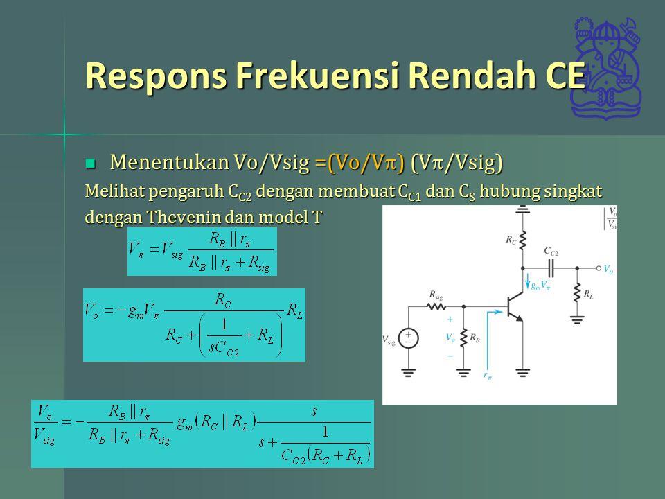 Respons Frekuensi Rendah CE Menentukan Vo/Vsig =(Vo/V  ) (V  /Vsig) Menentukan Vo/Vsig =(Vo/V  ) (V  /Vsig) Melihat pengaruh C C2 dengan membuat C