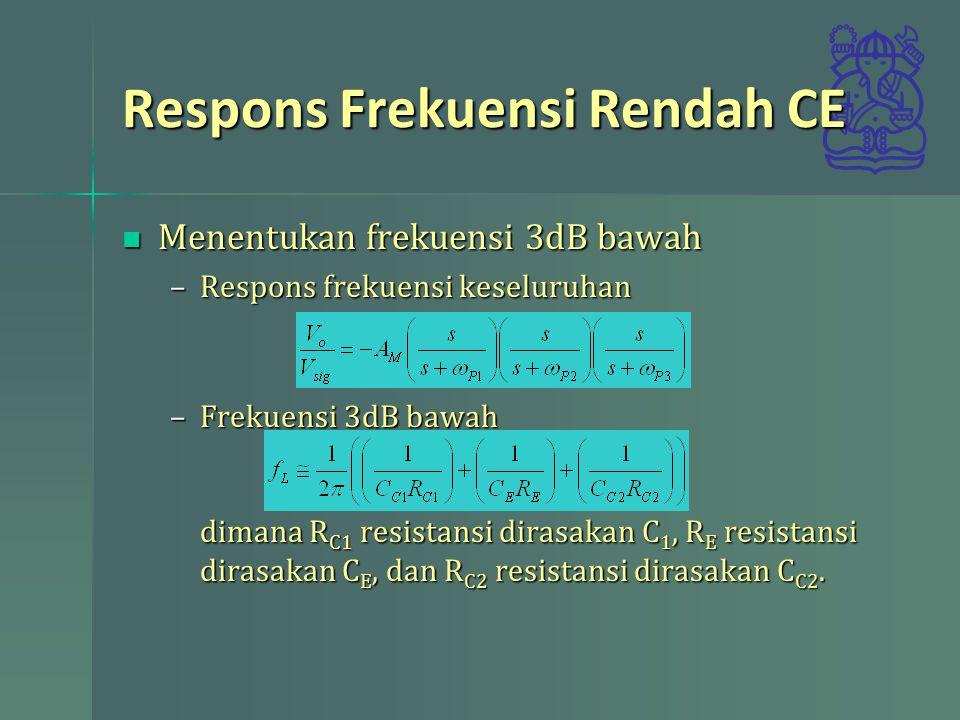 Menentukan frekuensi 3dB bawah Menentukan frekuensi 3dB bawah –Respons frekuensi keseluruhan –Frekuensi 3dB bawah dimana R C1 resistansi dirasakan C 1