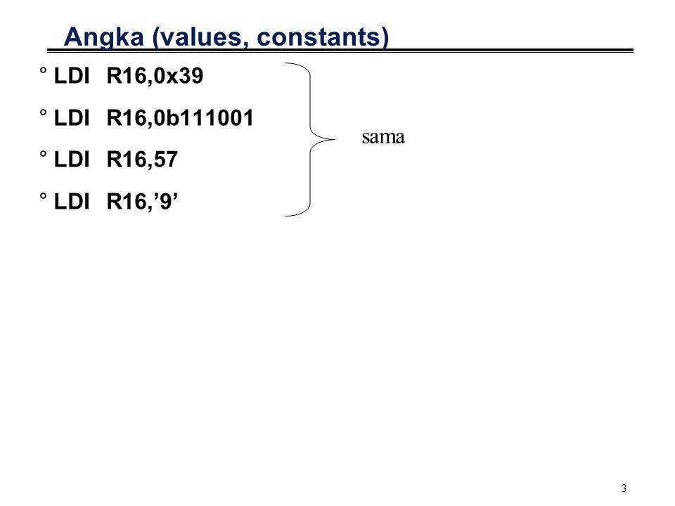 3 Angka (values, constants) °LDIR16,0x39 °LDIR16,0b111001 °LDIR16,57 °LDIR16,'9' sama