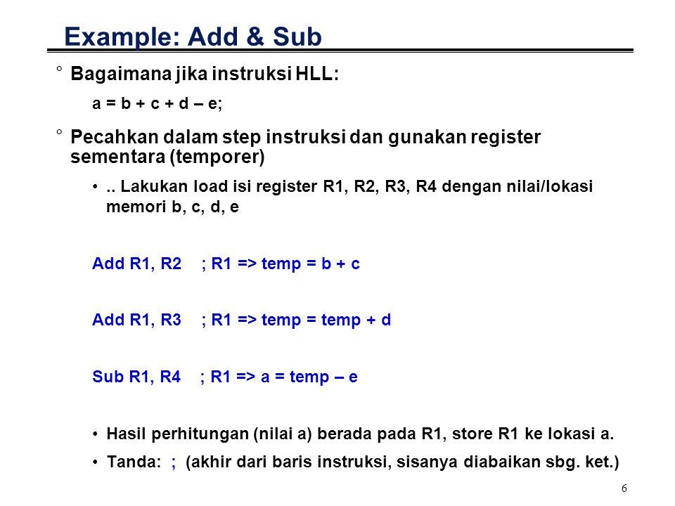 7 Arithmetic Instructions: Lain-lain °ADIW °SBIW °DEC °INC °CLR °MUL °TST °dsb