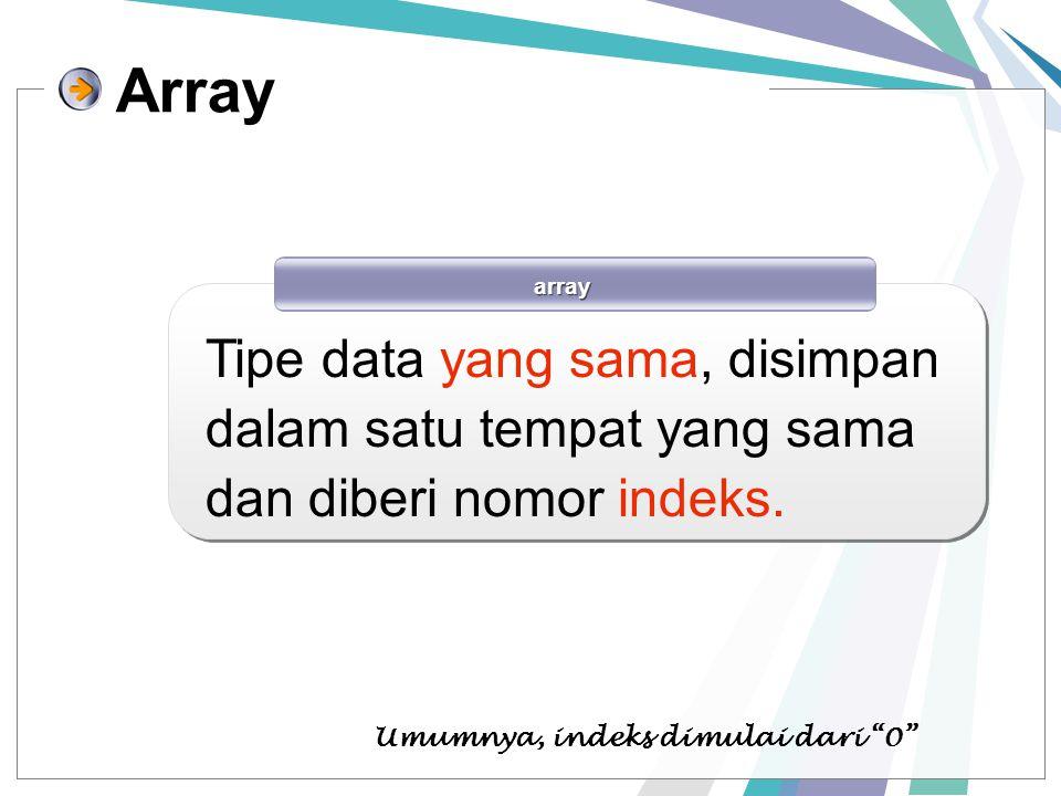 """Array array Tipe data yang sama, disimpan dalam satu tempat yang sama dan diberi nomor indeks. Umumnya, indeks dimulai dari """"0"""""""