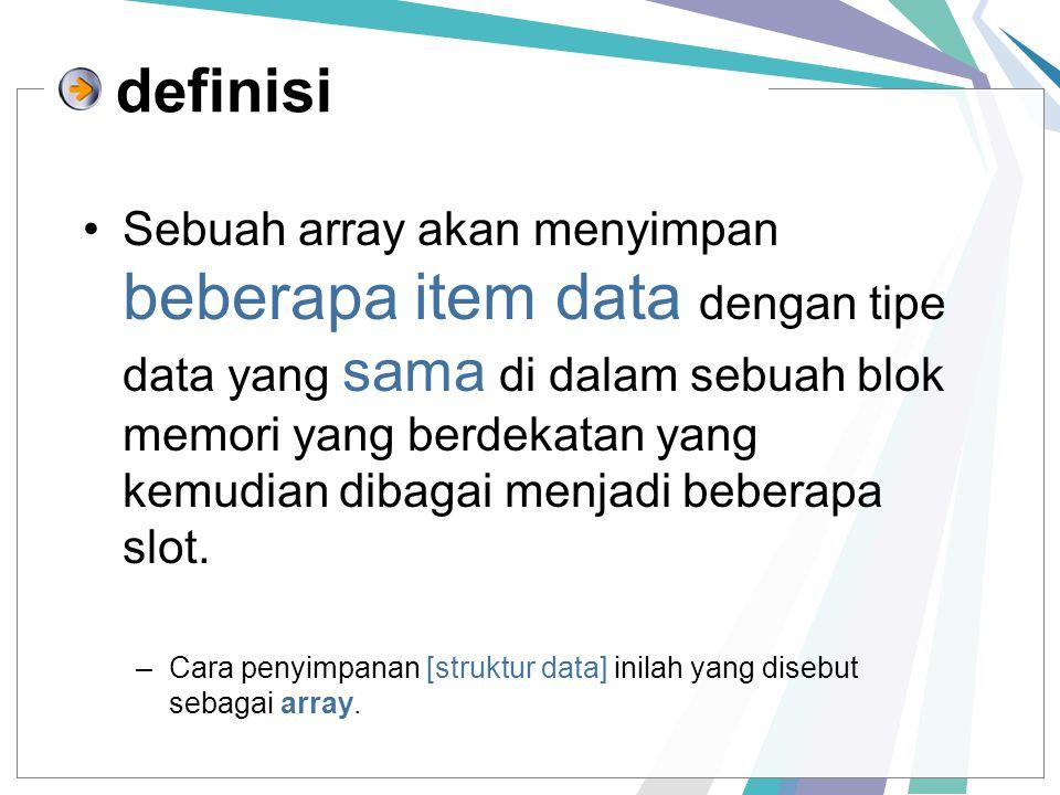 Sebuah array akan menyimpan beberapa item data dengan tipe data yang sama di dalam sebuah blok memori yang berdekatan yang kemudian dibagai menjadi beberapa slot.