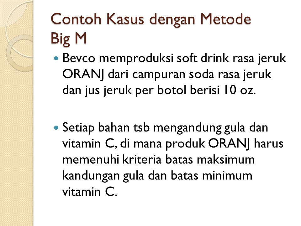 Contoh Kasus dengan Metode Big M Bevco memproduksi soft drink rasa jeruk ORANJ dari campuran soda rasa jeruk dan jus jeruk per botol berisi 10 oz. Set