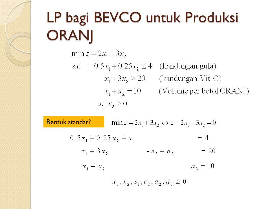 LP bagi BEVCO untuk Produksi ORANJ Bentuk standar?