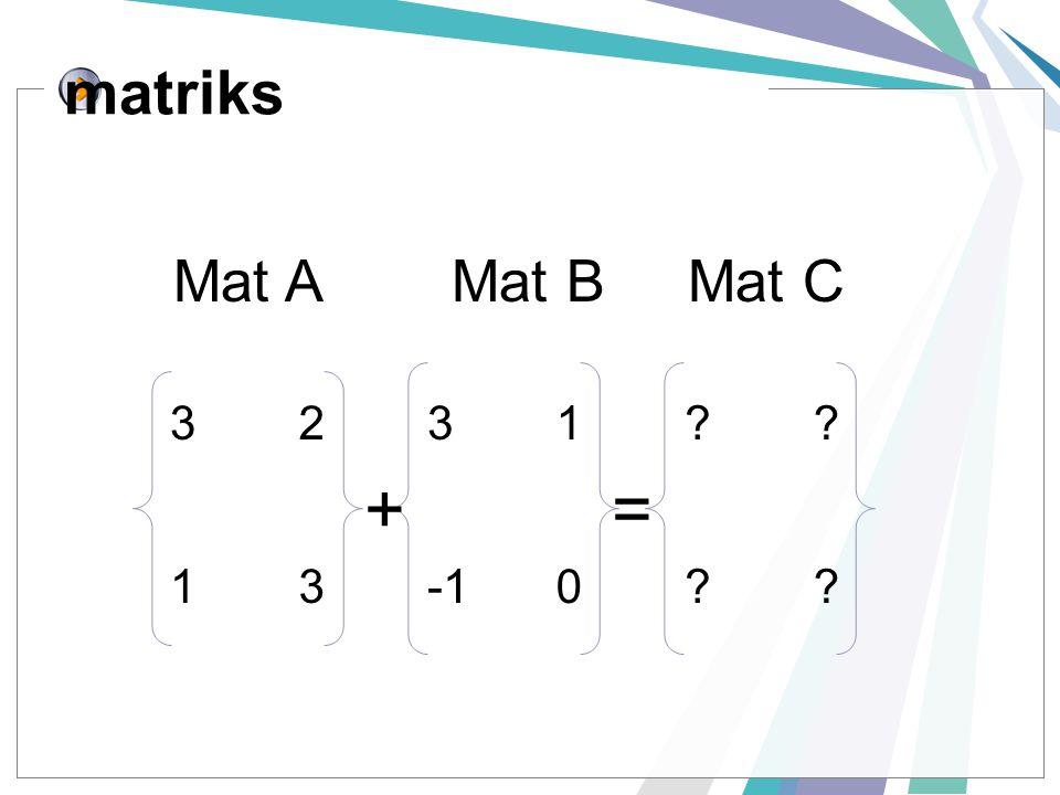 matriks 3231?? 130?? += Mat A Mat B Mat C