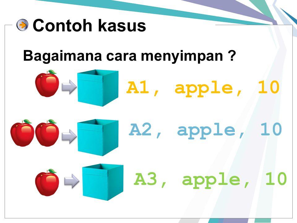 Bagaimana cara menyimpan ? Contoh kasus A1, apple, 10 A2, apple, 10 A3, apple, 10