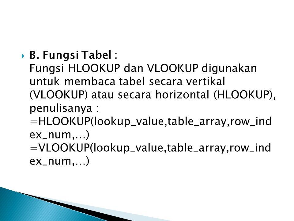  B. Fungsi Tabel : Fungsi HLOOKUP dan VLOOKUP digunakan untuk membaca tabel secara vertikal (VLOOKUP) atau secara horizontal (HLOOKUP), penulisanya :