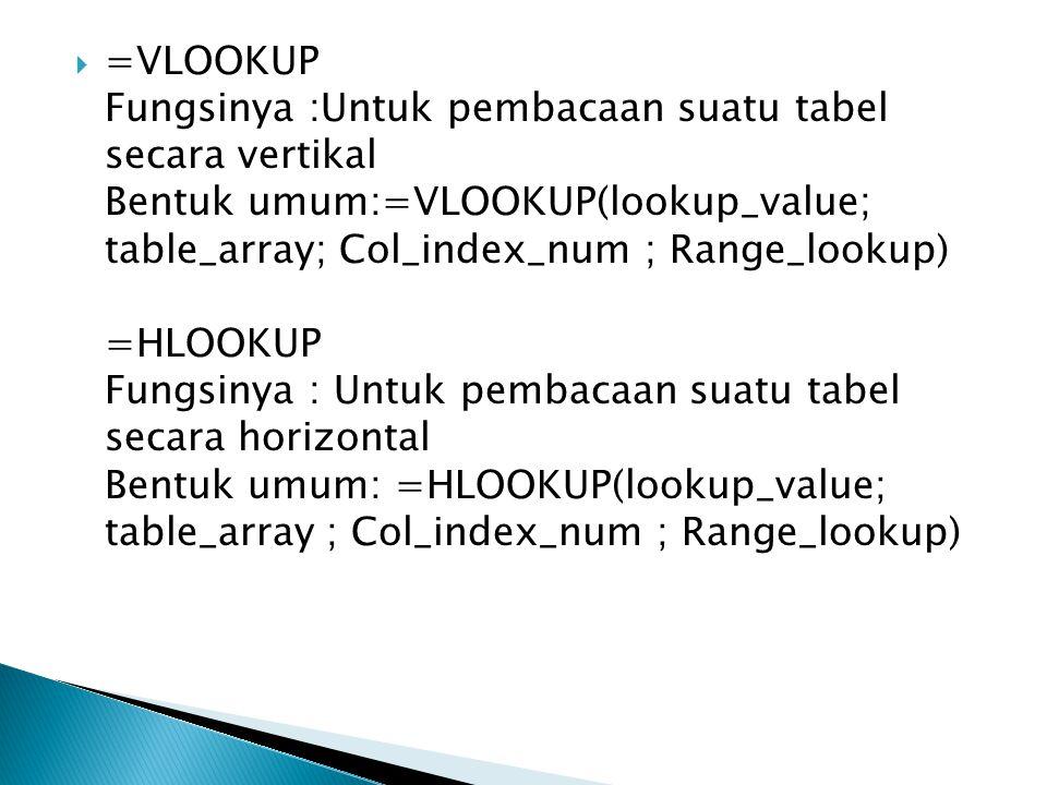  =VLOOKUP Fungsinya :Untuk pembacaan suatu tabel secara vertikal Bentuk umum:=VLOOKUP(lookup_value; table_array; Col_index_num ; Range_lookup) =HLOOK