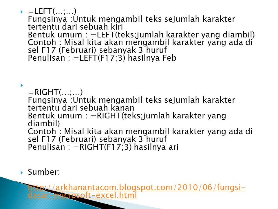  =LEFT(…;…) Fungsinya :Untuk mengambil teks sejumlah karakter tertentu dari sebuah kiri Bentuk umum : =LEFT(teks;jumlah karakter yang diambil) Contoh