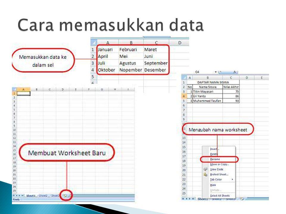  Microsoft Excel merupakan aplikasi dari microsoft yang digunakan untuk mengolah angka.