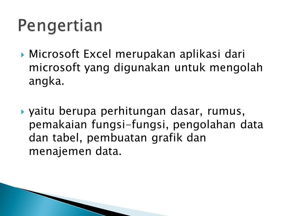  Microsoft Excel merupakan aplikasi dari microsoft yang digunakan untuk mengolah angka.  yaitu berupa perhitungan dasar, rumus, pemakaian fungsi-fun