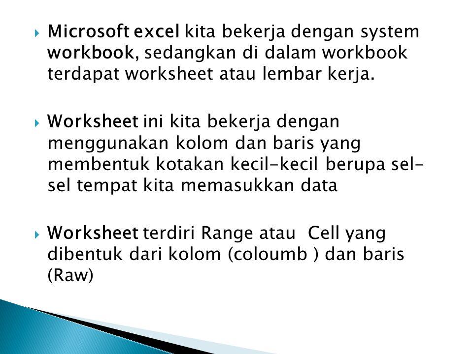 Workbook (buku kerja) : merupakan kumpulan dari 256 worksheet (berlabel sheet1 sampai sheet 256) Worksheet (lembar Kerja) : merupakan kumpulan dari 256 kolom dan 65536 baris.