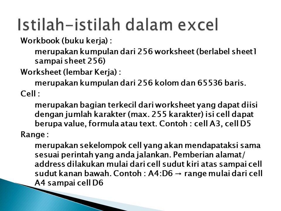 Workbook (buku kerja) : merupakan kumpulan dari 256 worksheet (berlabel sheet1 sampai sheet 256) Worksheet (lembar Kerja) : merupakan kumpulan dari 25