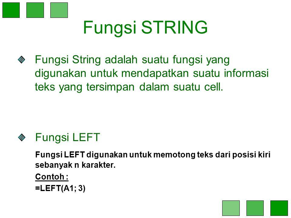 Fungsi STRING Fungsi String adalah suatu fungsi yang digunakan untuk mendapatkan suatu informasi teks yang tersimpan dalam suatu cell. Fungsi LEFT Fun