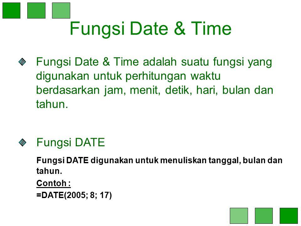 Fungsi Date & Time Fungsi Date & Time adalah suatu fungsi yang digunakan untuk perhitungan waktu berdasarkan jam, menit, detik, hari, bulan dan tahun.