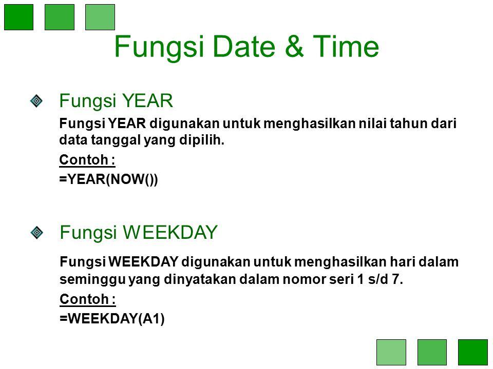 Fungsi Date & Time Fungsi YEAR Fungsi YEAR digunakan untuk menghasilkan nilai tahun dari data tanggal yang dipilih. Contoh : =YEAR(NOW()) Fungsi WEEKD