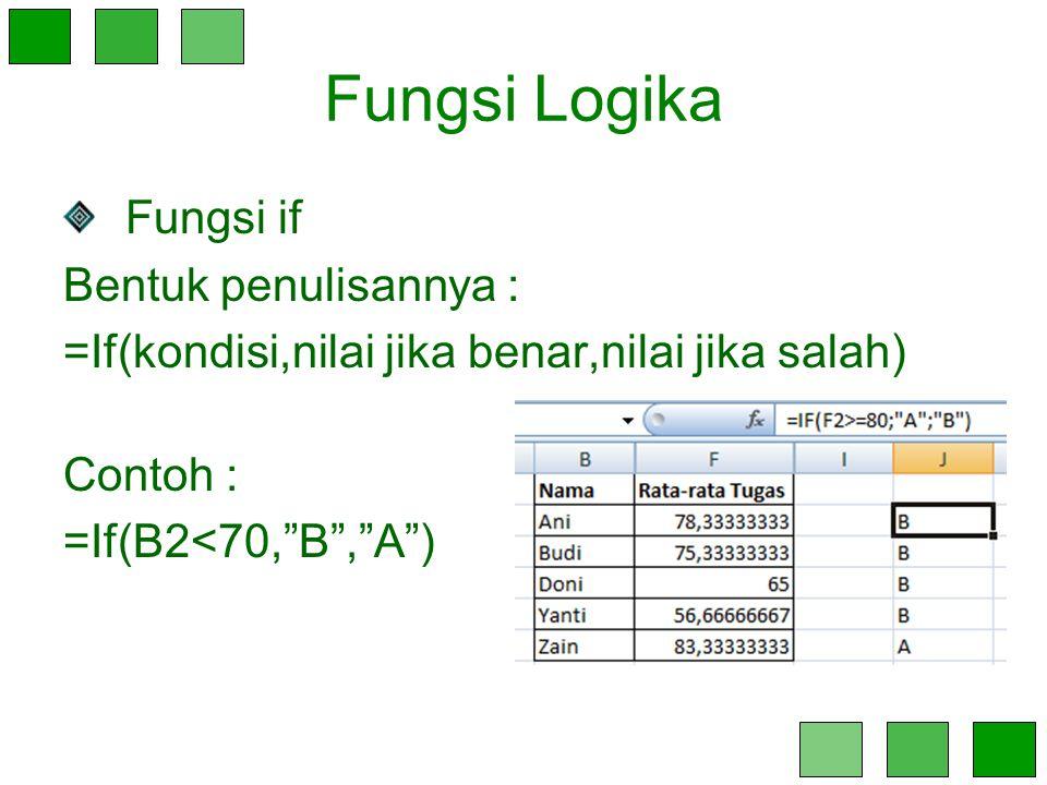 """Fungsi Logika Fungsi if Bentuk penulisannya : =If(kondisi,nilai jika benar,nilai jika salah) Contoh : =If(B2<70,""""B"""",""""A"""")"""