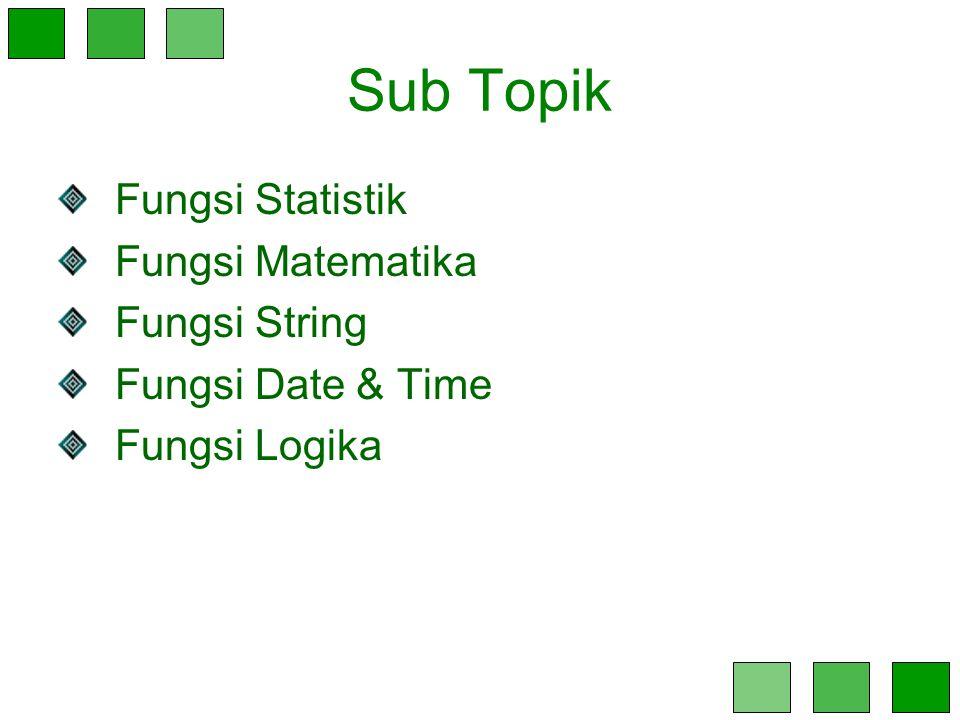 Sub Topik Fungsi Statistik Fungsi Matematika Fungsi String Fungsi Date & Time Fungsi Logika