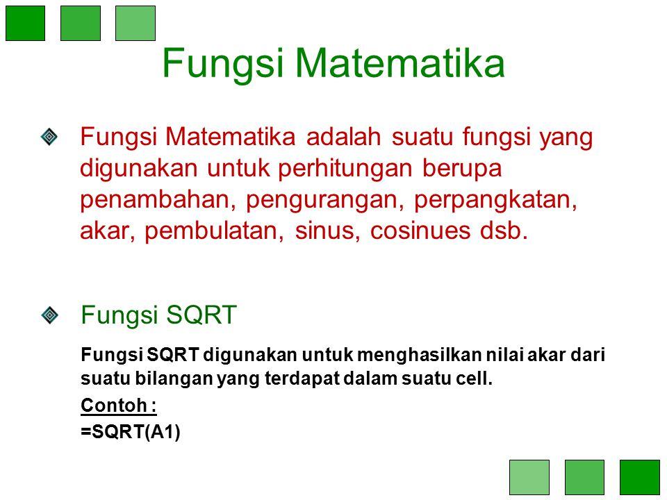 Fungsi Matematika Fungsi Matematika adalah suatu fungsi yang digunakan untuk perhitungan berupa penambahan, pengurangan, perpangkatan, akar, pembulata