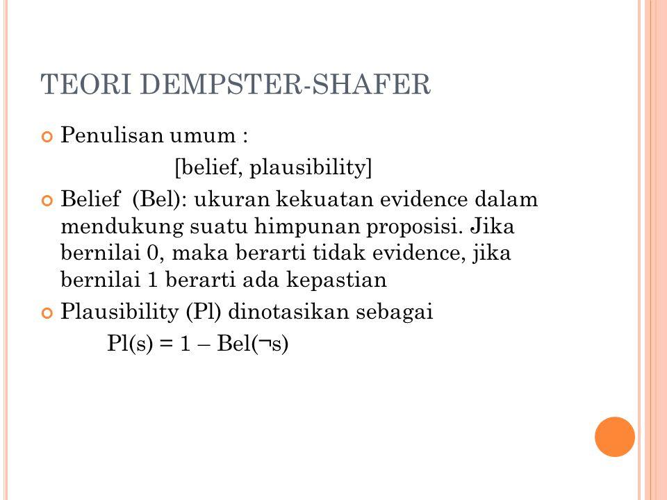 TEORI DEMPSTER-SHAFER Penulisan umum : [belief, plausibility] Belief (Bel): ukuran kekuatan evidence dalam mendukung suatu himpunan proposisi. Jika be