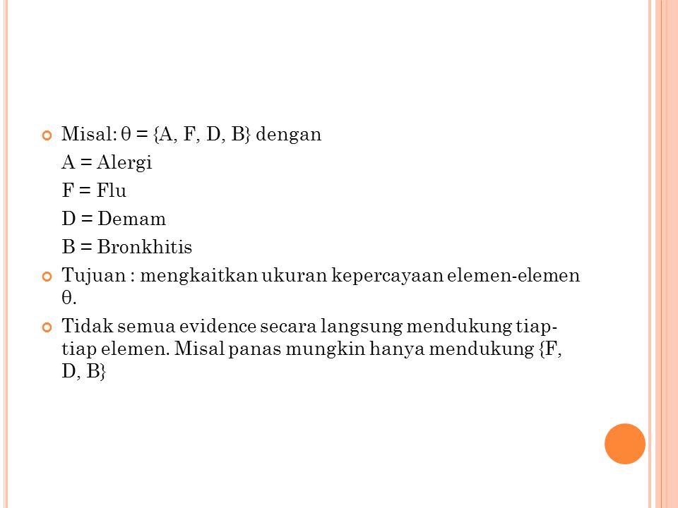 Misal: θ = {A, F, D, B} dengan A = Alergi F = Flu D = Demam B = Bronkhitis Tujuan : mengkaitkan ukuran kepercayaan elemen-elemen θ.