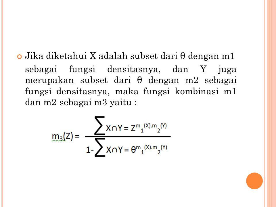 Jika diketahui X adalah subset dari θ dengan m1 sebagai fungsi densitasnya, dan Y juga merupakan subset dari θ dengan m2 sebagai fungsi densitasnya, maka fungsi kombinasi m1 dan m2 sebagai m3 yaitu :