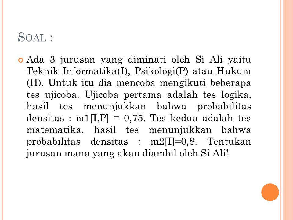 S OAL : Ada 3 jurusan yang diminati oleh Si Ali yaitu Teknik Informatika(I), Psikologi(P) atau Hukum (H). Untuk itu dia mencoba mengikuti beberapa tes
