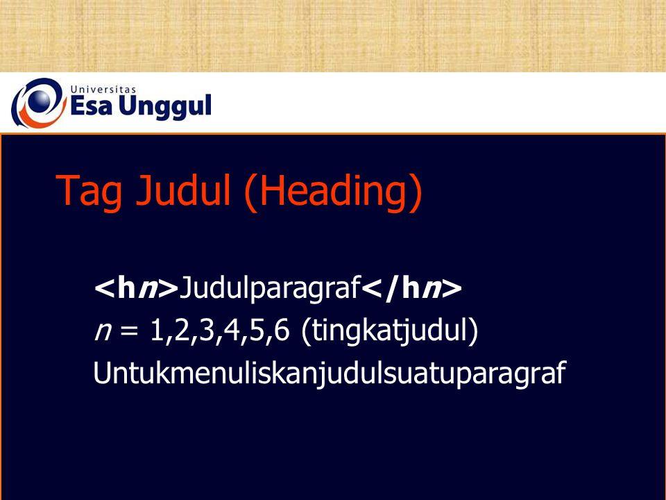 Tag Judul (Heading) Judulparagraf n = 1,2,3,4,5,6 (tingkatjudul) Untukmenuliskanjudulsuatuparagraf