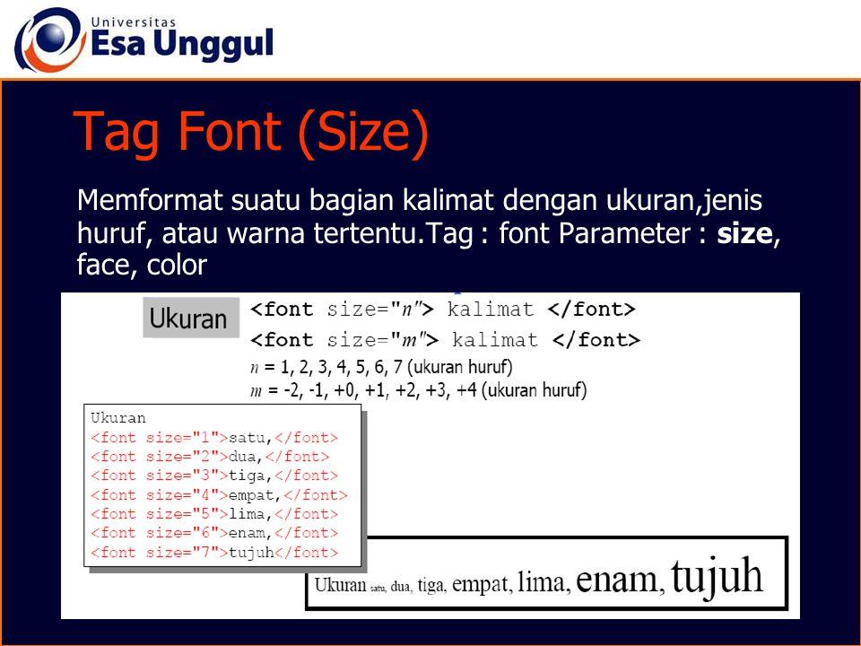 Tag Font (Size) Memformat suatu bagian kalimat dengan ukuran,jenis huruf, atau warna tertentu.Tag : font Parameter : size, face, color