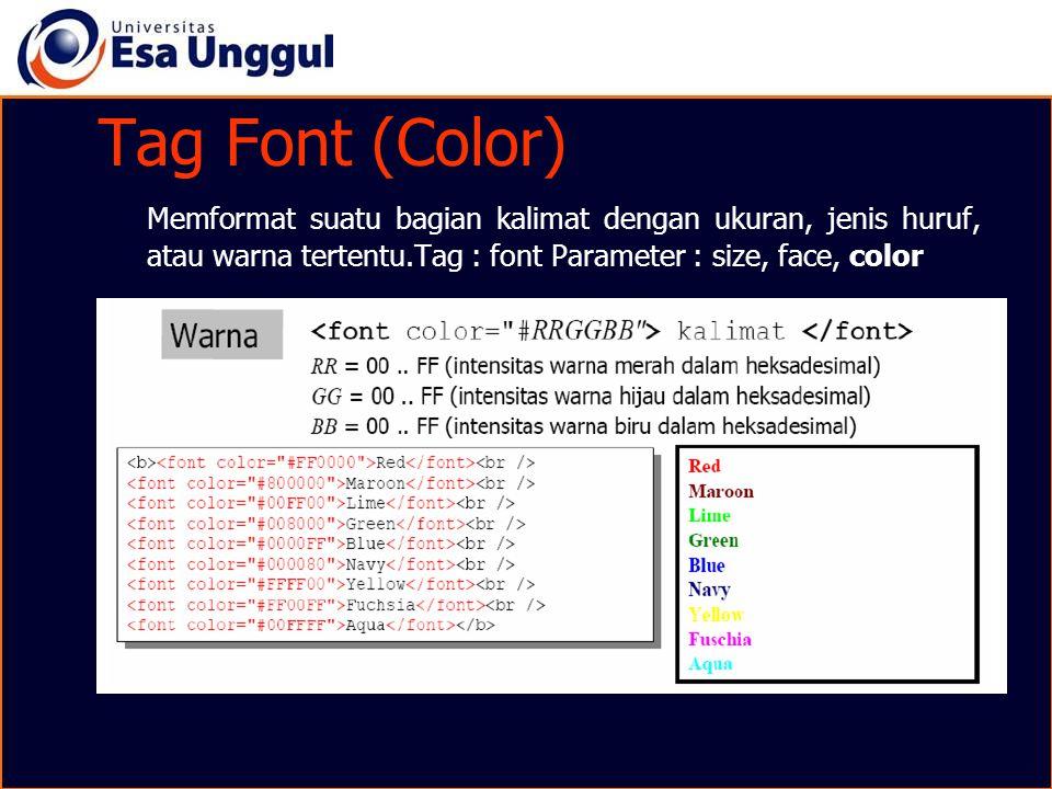 Tag Font (Color) Memformat suatu bagian kalimat dengan ukuran, jenis huruf, atau warna tertentu.Tag : font Parameter : size, face, color