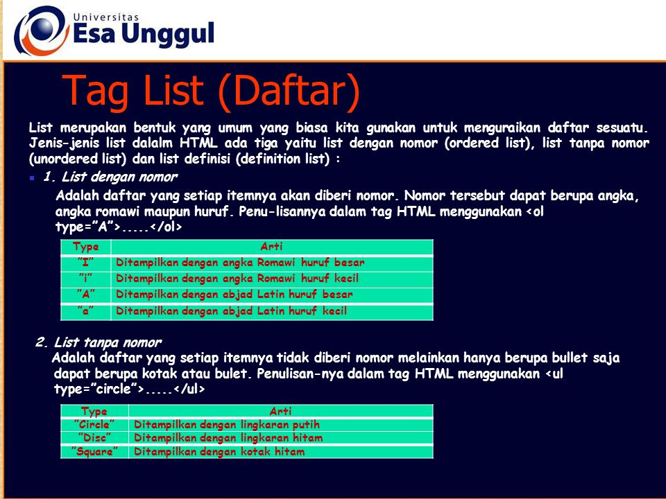 Tag List (Daftar) List merupakan bentuk yang umum yang biasa kita gunakan untuk menguraikan daftar sesuatu. Jenis-jenis list dalalm HTML ada tiga yait
