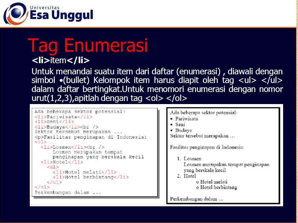 Tag Enumerasi item Untuk menandai suatu item dari daftar (enumerasi), diawali dengan simbol (bullet) Kelompok item harus diapit oleh tag dalam daftar