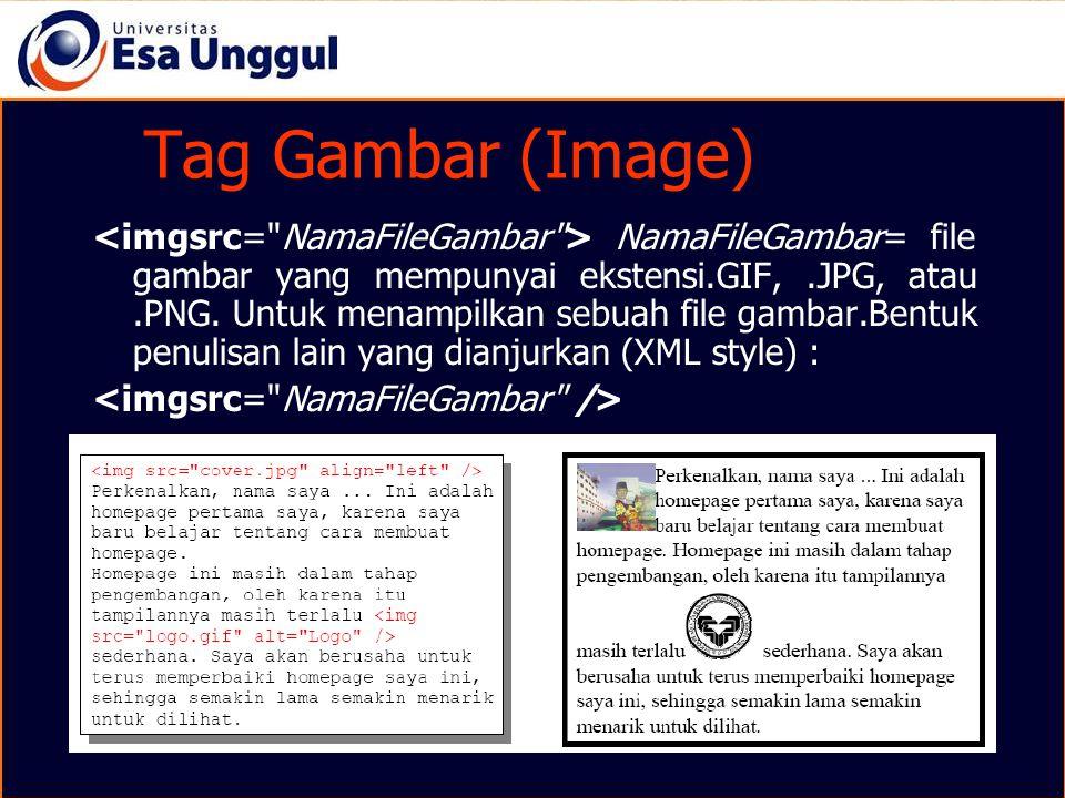Tag Gambar (Image) NamaFileGambar= file gambar yang mempunyai ekstensi.GIF,.JPG, atau.PNG. Untuk menampilkan sebuah file gambar.Bentuk penulisan lain